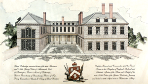 Potheridge - Conjectural reconstruction of Potheridge House, Merton, Devon, built by General George Monck, 1st Duke of Albemarle (1608–1670) between 1660 and 1670. South front. It was partially demolished after 1734. The only surviving part in 2014 is the right hand block. The left hand block was a chapel
