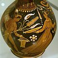 Pottery Painting, Eros thyrsos woman 350 to 325 BC. NG Prague Kinsky, NM-H10 2437 141212.jpg