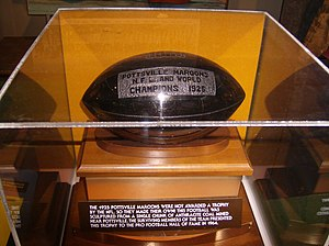 1925 NFL Championship controversy - The Maroons' self-made trophy (carved out of anthracite coal) now in the Pro Football Hall of Fame