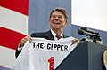 """President Ronald Reagan holding """"The Gipper"""" jersey at a campaign rally in Endicott, New York.jpg"""