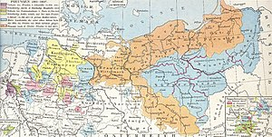 Treaties of Tilsit - Prussia in 1807 (orange) and its territories lost at Tilsit (other colours).