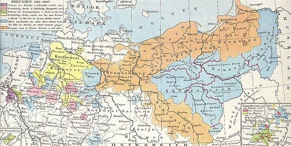 Prussia (orange) and its territories lost after the War of the Fourth Coalition (other colours) Preussen-1806.jpg