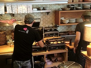 Krampouz - Professional cast-iron panini machines in a Montreal coffee shop