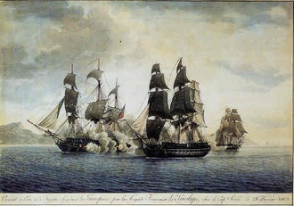Action of 27 February 1809 - Capture of HMS ''Proserpine'' by ''Pénélope'' and ''Pauline''. Watercolour by Antoine Roux.