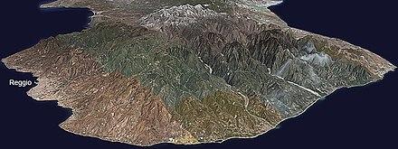 La provincia di Reggio Calabria dal satellie