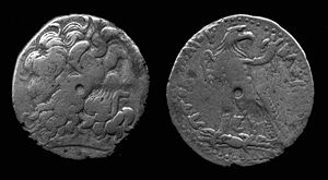 Ptolemy III Euergetes - Bronze coin issued by Ptolemy III depicting Zeus-Amun (obverse) and traditional Ptolemaic eagle (reverse). Ptolemy III did not issue coins with his own image.