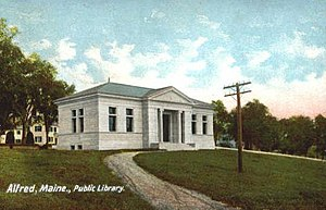 Alfred, Maine - Parsons Memorial Library in 1906, donated to the town in 1905 by George and Edwin Parsons