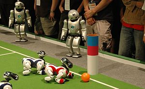 AIBO - QRIOs watch AIBOs at a Robocup event