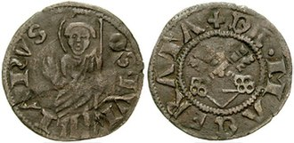 Julian the Hospitaller - Quattrino of Macerata depicting Saint Julian