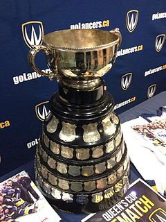 Queens Cup (ice hockey) trophy awarded annually to the champion in mens ice hockey of the Ontario University Athletics conference of U Sports