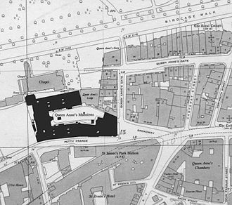 Queen Anne's Mansions - Queen Anne's Mansions (highlighted) from 1896 OS map.