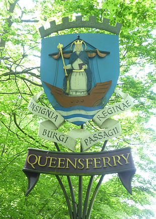 Sign on entering Queensferry, displaying the arms of the burgh