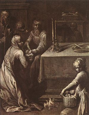 Quentin Varin - Presentation of Christ in the Temple, grisaille, c.1620