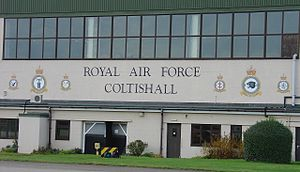 RAF Coltishall - Image of the various Crests painted on the central aircraft hangar. These depict the final full capacity status of RAF Coltishall. From left to right: No.6 Sqn, RAF Coltishall station crest, No.16 Sqn - No.41 Sqn, No.1 Group Headquarters RAF, No.54 Sqn.