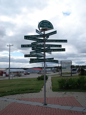 Radisson, Quebec - Novelty signpost in the centre of Radisson.