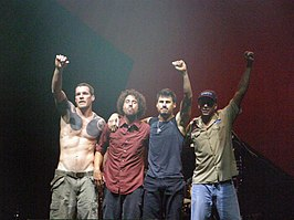 Rage Against the Machine op Vegoose 2007, v.l.n.r.: Tim Commerford, Zack de la Rocha, Brad Wilk en Tom Morello