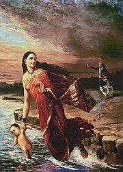 Raja Ravi Varma, Ganga and Shantanu (1890)