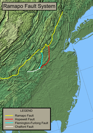 Earthquake activity in the New York City area - Map depicting the extent of the Ramapo Fault System in New York, New Jersey, and Pennsylvania