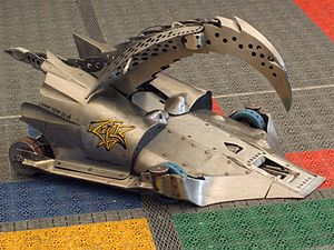 Razer (robot) - Razer as it appeared in series 6 of Robot Wars, featuring a piercing arm and wedge.