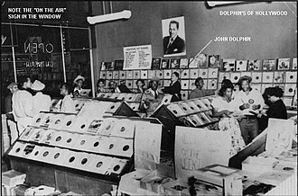 Earth Angel - John Dolphin broadcasting from Dolphin's of Hollywood, where the song first found airplay.