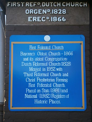 First Reformed Dutch Church of Bergen Neck - Image: Reformed Church of Bergen Neck marker
