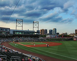 Regions Field - Looking towards the Birmingham skyline from Regions Field. July 15, 2015