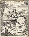 Reiziger bestudeert met behulp van een boek een aardglobe Titelpagina uit W. Dampier, Nieuwe reystogt rondom de werreld, 1698, RP-P-1896-A-19368-1310.jpg