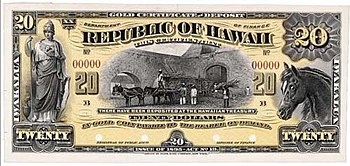 Republic of Hawaii Banknote for 20 gold dollar...