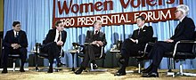 March 13, 1980 in Chicago Howard K. Smith (center) moderates a League of Women Voters-sponsored presidential forum featuring Anderson (far right) and fellow Republican candidates Phil Crane (far left), George H. W. Bush (second from left), and Ronald Reagan (second from right).