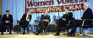 Phil Crane - Eric Sevareid (center) moderates a League of Women Voters-sponsored presidential forum on March 13, 1980, in Chicago featuring Crane (far left) and fellow Republican candidates George H. W. Bush (second from left), John B. Anderson (far right), and Ronald Reagan (second from right).