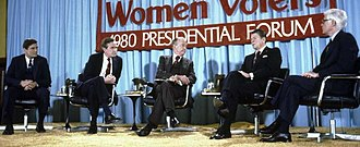 John B. Anderson - March 13, 1980, in Chicago Howard K. Smith (center) moderates a League of Women Voters-sponsored presidential forum featuring Anderson (far right) and fellow Republican candidates Phil Crane (far left), George H. W. Bush (second from left), and Ronald Reagan (second from right)