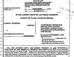 Restraining order - A restraining order issued by the Justice Court of Las Vegas.
