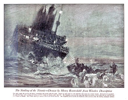 """Sinking of the Titanic"" by Henry Reuterdahl Reuterdahl - Sinking of the Titanic.jpg"