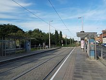 Rialto LUAS station by day in Dublin