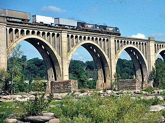 Seaboard System Railroad - A Seaboard freight train crosses the James River in 1985.