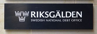 Swedish National Debt Office - Sign of the Swedish National Debt Office.