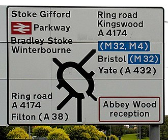 Transport (typeface) - A road sign written mainly in Transport Heavy; the white on blue text is Transport Medium.