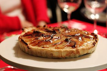 Roasted pear creme brulee tart.