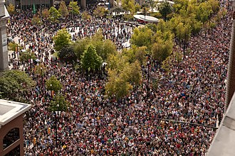 ArtPrize - Thousands of ArtPrize visitors gather in Rosa Parks Circle in downtown Grand Rapids.