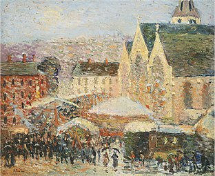 Robert Antoine Pinchon, 1905-06, La foire Saint-Romain sur la place Saint-Vivien, Rouen, oil on canvas, 49 x 59.4 cm.jpg
