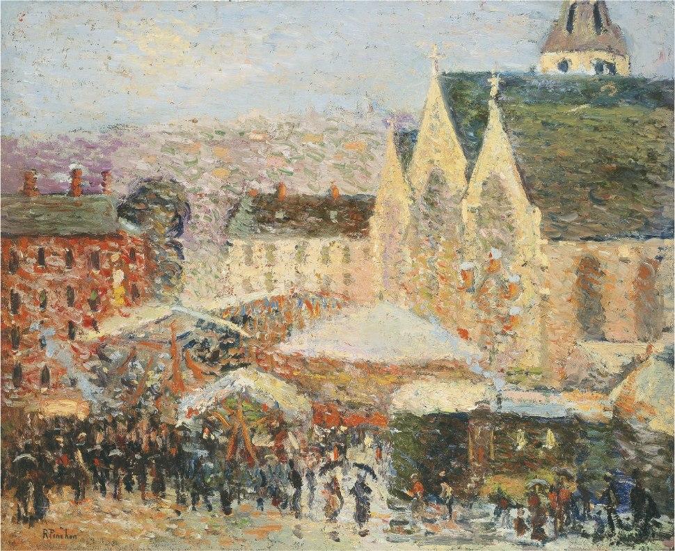 Robert Antoine Pinchon, 1905-06, La foire Saint-Romain sur la place Saint-Vivien, Rouen, oil on canvas, 49 x 59.4 cm