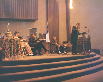 Pastor Ernest Moen preaching at Rockford First Assembly of God on Easter Sunday 1971 Rockford First Sunday Easter 1971.png