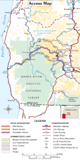 Karte des Rogue Rivers zwischen Grants Pass und Gold Beach