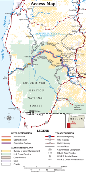 Rogue River–Siskiyou National Forest - Map of southwestern Oregon