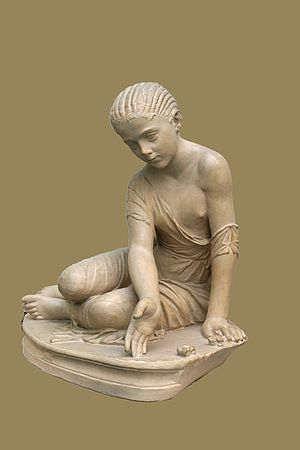 Ludus (ancient Rome) - Roman girl at play (ludus) with knucklebones