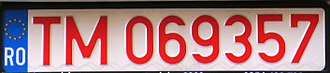 Vehicle registration plates of Romania - Red plate from Timiş county