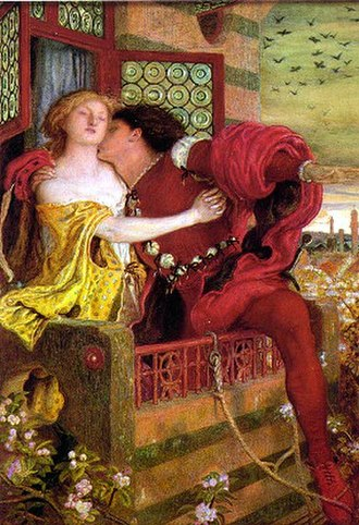 Love - Romeo and Juliet, depicted as they part on the balcony in Act III, 1867 by Ford Madox Brown