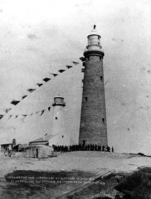 Wadjemup Lighthouse - Official opening of the second lighthouse on 17 March 1896. The original and smaller lighthouse adjacent was demolished soon afterwards.