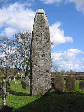 Rudston Monolith, from the late Neolithic or early Bronze Age, is the tallest megalith in Great Britain. RudstonMonolith(StephenHorncastle)Apr2006.jpg