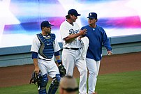 Russell Martin (left), Derek Lowe (center) and...
